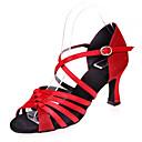 זול נעליים לטיניות-נעליים לטיניות סטן / נצנצים סנדלים שחבור עקב רחב מותאם אישית נעלי ריקוד חום / כסף / אדום / הצגה / עור