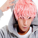 cheap Unprocessed Hair-anime cosplay wig hot sale men short wig deep pink small roll wigs