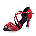 זול נעליים לטיניות-נעליים לטיניות נצנצים / טול סנדלים שחבור עקב רחב מותאם אישית נעלי ריקוד שחור / חום / אדום / הצגה / עור
