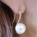 זול תיקי ערב וקלאצ'ים-בגדי ריקוד נשים עגילים צמודים דמוי פנינה אבן נוצצת עגילים תכשיטים לבן פנינה עבור חתונה Party יומי קזו'אל