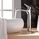 billige Parykker af ægte menneskerhår-Håndvasken vandhane - Vandfald Krom Vandret Montering Enkelt håndtag Et HulBath Taps / Messing