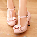 cheap Women's Heels-Women's Leatherette Spring / Summer Chunky Heel Bowknot Beige / Green / Pink / Dress