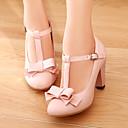 baratos Sapatos de Salto-Mulheres Courino Primavera / Verão Salto Robusto Laço Bege / Verde / Rosa claro / Social