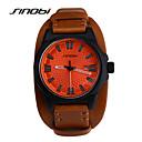 cheap Dress Watches-SINOBI Men's Quartz Wrist Watch Sport Watch Calendar / date / day Water Resistant / Water Proof Sport Watch Leather Band Cool Brown