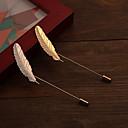 halpa Muotikorvakorut-Rintaneulat - Platinum Plated, Gold Plated Risti, Feather Muoti Rintaneula Hopea / Kultainen Käyttötarkoitus Häät / Party / Päivittäin