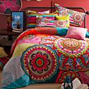 preiswerte Bohemian Bettbezüge-Bettbezug-Sets Blumen 4 Stück Baumwolle Seide/Baumwolle Reaktivdruck Baumwolle Seide/Baumwolle 1 Stk. Bettdeckenbezug 2 Stk. Kissenbezüge