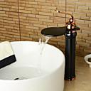 זול ברזים לחדר האמבטיה-חדר רחצה כיור ברז - מפל מים ברונזה ששופשפה בשמן סט מרכזי חור ידית אחת אחתBath Taps / Brass