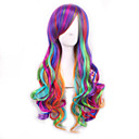 cheap Party Supplies-Synthetic Wig Women's Wavy Purple With Bangs Synthetic Hair With Bangs Purple Wig Long Capless Rainbow