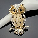 cheap Brooches-Women's Brooches - Crystal, Cubic Zirconia Owl Ladies, Work, Fashion, Cute Brooch Jewelry Gold For Wedding / Party / Special Occasion / Anniversary / Birthday / Gift