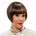 お買い得  人工毛キャップレスウィッグ-人工毛ウィッグ ストレート スタイル キャップレス かつら ブラウン Brown 合成 女性用 ブラウン かつら ショート