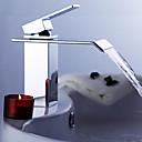 povoljno Slavine za umivaonik-Suvremena Središnje pozicionirane Waterfall Keramičke ventila Jedan Ručka jedna rupa Chrome, Kupaonica Sudoper pipa