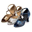 baratos Sapatos de Dança Latina-Mulheres Sapatos de Dança Latina / Sapatos de Salsa Courino Sandália / Salto Presilha Salto Personalizado Personalizável Sapatos de Dança