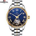 baratos Relógios Mecânicos-Carnival Homens Relógio Esqueleto Gravação Oca Aço Inoxidável Banda Amuleto Branco / Dourada / Automático - da corda automáticamente