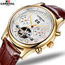cheap Sheet Sets & Pillowcases-Carnival Men's Skeleton Watch Hollow Engraving Leather Band Charm Brown / Stainless Steel / Automatic self-winding