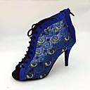 hesapli Latin Dans Ayakkabıları-Kadın's Latin Dans Ayakkabıları Saten Botlar Fermuar Stiletto Topuk Kişiselleştirilmiş Dans Ayakkabıları Mavi / İç Mekan / Deri
