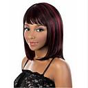 preiswerte Wand-Sticker-Synthetische Perücken Glatt Synthetische Haare 10 Zoll Rot Perücke Damen Mittlerer Länge Kappenlos Red Mixed Schwarz