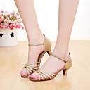 رخيصةأون أحذية لاتيني-للمرأة أحذية رقص جلد صندل مشبك كعب مخصص مخصص أحذية الرقص فضة / ذهبي / داخلي