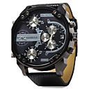 cheap Military Watches-Men's Quartz Wrist Watch Military Watch Three Time Zones Dual Time Zones Leather Band Luxury Black