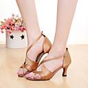 رخيصةأون أحذية لاتيني-للمرأة أحذية سالسا ستان صندل مشبك كعب مخصص مخصص أحذية الرقص أسمر / برتقالي / البنفسجي / داخلي / جلد