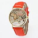 hesapli Saat Aksesuarları-Kadın's Bilek Saati Dünya haritası Quartz Kapitoneli PU Deri Siyah / Mavi / Kırmızı Analog Klasik Vintage Moda Dünya Haritası Desen - Mavi Pembe Haki Bir yıl Pil Ömrü / Jinli 377