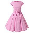 levne Šaty Lolita-Dámské Jdeme ven Vintage Bavlna A Line Šaty - Puntíky, Mašle Délka ke kolenům Úzký výstřih