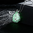cheap Necklaces-Women's Pendant Necklace - Drop, Flower Carved, Luminous Luminous Green, Blue, Light Blue Necklace Jewelry For Wedding, Party, Daily