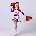 baratos Roupas Infantis de Dança-Fantasias para Cheerleader Roupa Espetáculo Poliéster Fru-Fru Manga Longa Alto Blusa / Saia