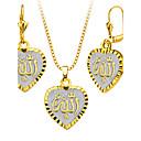 זול עגילים צמודים-בגדי ריקוד נשים סט תכשיטים - מצופה כסף, ציפוי זהב לב, אהבה לִכלוֹל שרשרת / עגילים עבור חתונה Party יומי / שרשראות