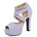 hesapli Latin Dans Ayakkabıları-Kadın's Ayakkabı Yapay Deri Yaz Kalın Topuk / Platform Elbise / Parti ve Gece için Bej / Mor / Pembe