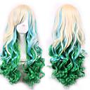preiswerte Synthetische Perücken-Synthetische Perücken Locken / Große Wellen Asymmetrischer Haarschnitt Synthetische Haare Natürlicher Haaransatz Grün Perücke Damen Lang Kappenlos