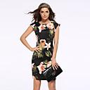 baratos Bolsas de Ombro-Mulheres Tamanhos Grandes Moda de Rua Bainha Vestido - Estampado, Floral Acima do Joelho Preto / Padrões florais