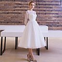 cheap Cake Toppers-A-Line / Princess Illusion Neck Tea Length Lace Over Tulle Made-To-Measure Wedding Dresses with Sash / Ribbon by LAN TING Express