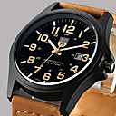 cheap Prints-Men's Wrist Watch Quartz Calendar / date / day Leather Band Analog Casual Fashion Brown / Green / Khaki - Green Black / White Black One Year Battery Life