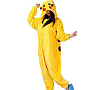 cheap Kigurumi Pajamas-Adults' Kigurumi Pajamas Pika Pika Animal Onesie Pajamas Flannel Toison Yellow Cosplay For Men and Women Animal Sleepwear Cartoon Festival / Holiday Costumes