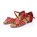 "cheap Latin Shoes-Women's Children's Latin Salsa Ballroom Leatherette Satin Sandal Buckle Low Heel Red Silver Brown Gold Royal Blue 1"" - 1 3/4"" Non"