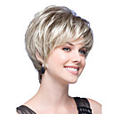 cheap Synthetic Capless Wigs-Synthetic Wig Straight Blonde Bob Haircut / With Bangs Synthetic Hair Blonde Wig Women's Short