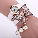 hesapli Bileklik Saatler-Kadın's Quartz Bilezik Saat Gündelik Saatler Deri Bant Çiçek Moda Siyah Beyaz Mavi Turuncu Kahverengi Pembe