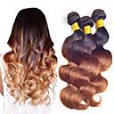 cheap Ombre Hair Weaves-Brazilian Hair Body Wave Virgin Human Hair Ombre Hair Weaves 3 Bundles Human Hair Weaves Black / Medium Auburn Women's