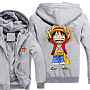 cheap Anime Costumes-Inspired by One Piece Monkey D. Luffy Anime Cosplay Costumes Cosplay Hoodies Print Long Sleeve Top For Men's