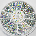 cheap Rhinestone & Decorations-4 size 300pcs nail art tips crystal glitter rhinestone decoration wheel
