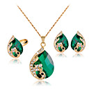cheap Earrings-Women's Crystal Jewelry Set - Crystal, Rhinestone, Rose Gold Plated Peacock Party Include Red / Green / Blue Peacock For Party Daily / Rings / Earrings / Necklace
