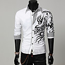 cheap CCTV Cameras-Men's Cotton Slim Shirt Print Classic Collar
