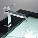halpa Kylpyhuoneen lavuaarihanat-Nykyaikainen Integroitu Vesiputous Keraaminen venttiili Yksi kahva yksi reikä Kromi, Kylpyhuone Sink hana