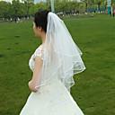 cheap Wedding Veils-Two-tier Ribbon Edge Wedding Veil Fingertip Veils 53 Beading Ruched Tulle