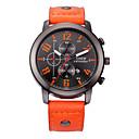 baratos Acessórios Esportivos-Homens Relógio de Moda Japanês Calendário / Relógio Casual Couro Banda Amuleto Preta / Vermelho / Laranja