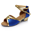 cheap Bracelets-Women's Latin Shoes Paillette / Satin Sandal Buckle Customized Heel Customizable Dance Shoes Red / Blue / Golden / Indoor / Leather