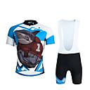 baratos Camisas & Shorts/Calças de Ciclismo-ILPALADINO Homens Manga Curta Camisa com Bermuda Bretelle - Preto Moto Calções Bibes Camisa/Roupas Para Esporte Conjuntos de Roupas,