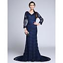 זול מחלצים ופתיחות-בתולת ים \ חצוצרה צווארון V שובל קורט תחרה ערב רישמי שמלה עם תחרה על ידי TS Couture®