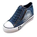 baratos Tênis Feminino-Mulheres Sapatos Jeans Primavera / Verão / Outono Conforto Salto Plataforma Ziper / Cadarço Azul Escuro / Azul Claro