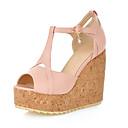cheap Women's Sandals-Women's Shoes Leatherette Spring / Summer Platform / Wedge Heel Buckle Black / Blue / Pink